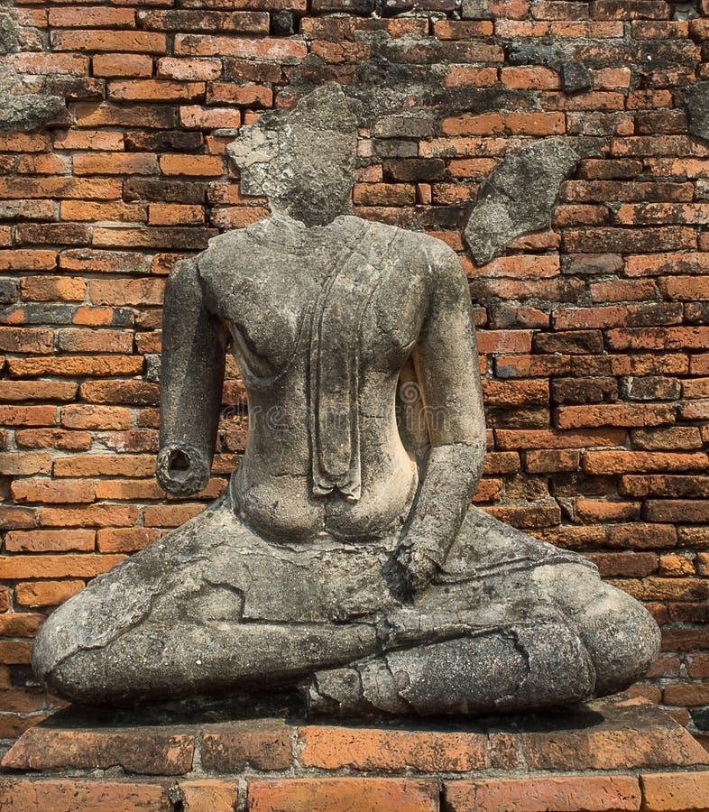 Старые религиозные изображения Будды в Ayutthaya стоковое фото rf