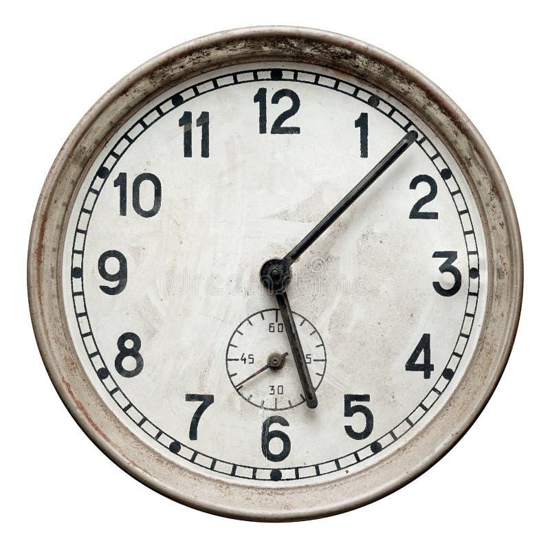 Старые ржавые круглые настенные часы стоковое изображение rf