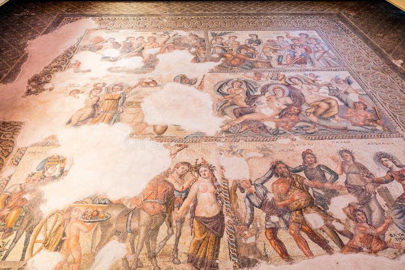 Старые римские и старые мозаики в Paphos, Кипре стоковое фото