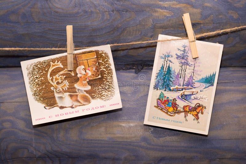 Старые рождественские открытки стоковое изображение