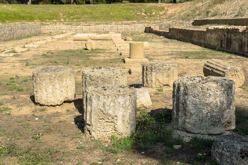 Старые руины археологических раскопок Олимпии в Пелопоннесе, Gymnasion Греции стоковое изображение rf