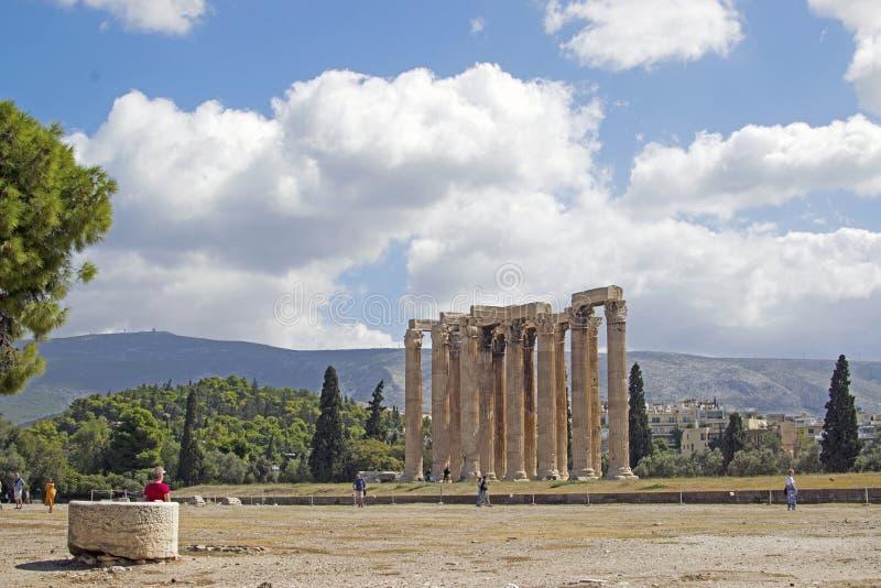 Старые руины виска Зевса, главного бога старого Olympus стоковое изображение