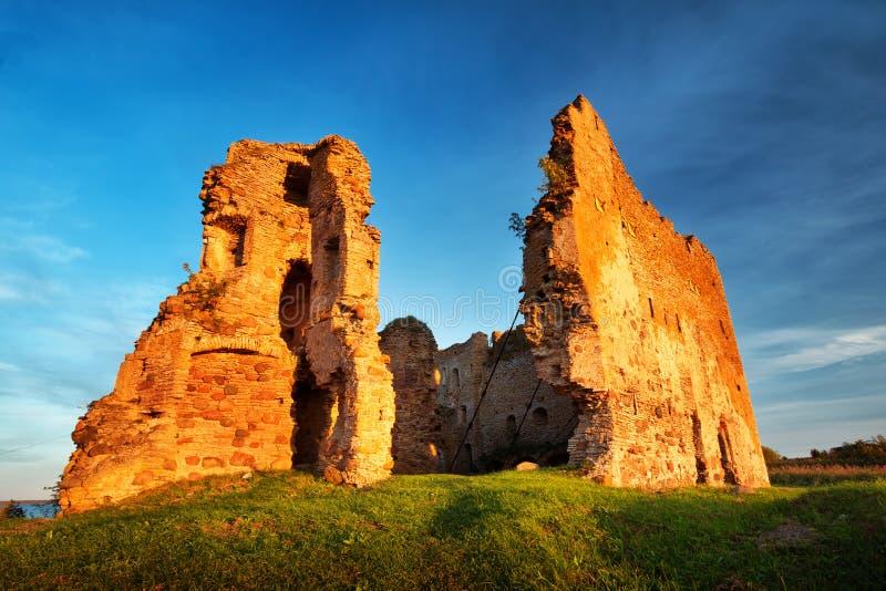 Старые руины замка в свете захода солнца стоковые изображения rf