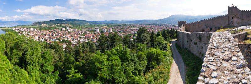 Старые руины замка в Ohrid, македонии стоковые фотографии rf