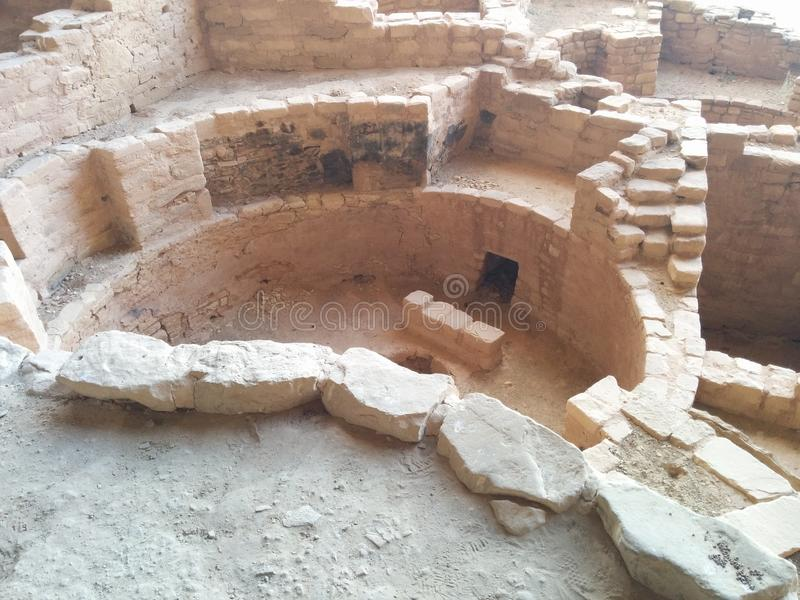 Старые руины на национальном парке мезы Verde стоковая фотография rf