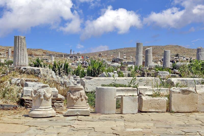 Старые руины Delos, Греция стоковая фотография rf
