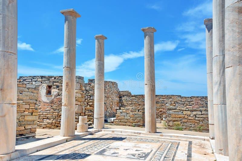 Старые руины Delos, Греция стоковые фотографии rf