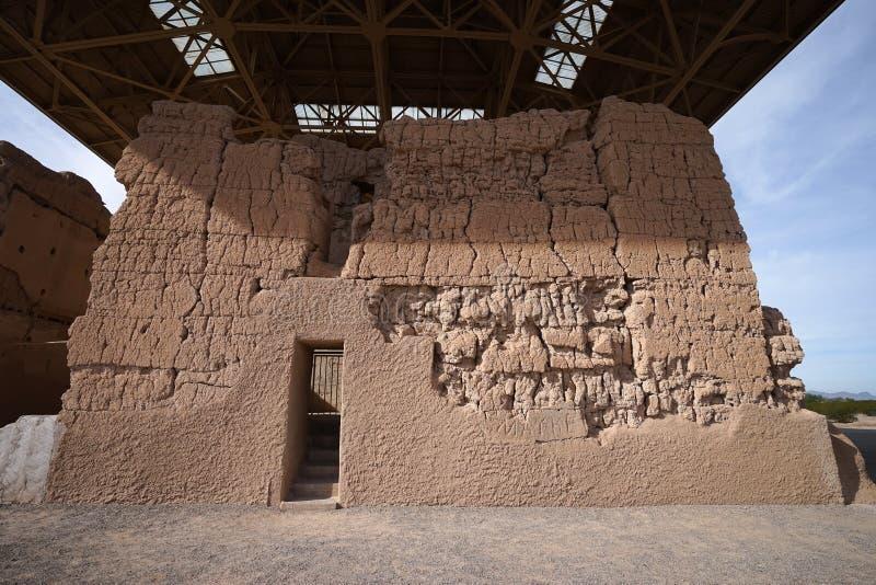 Старые руины hohokam в Касе большой Аризоне стоковая фотография