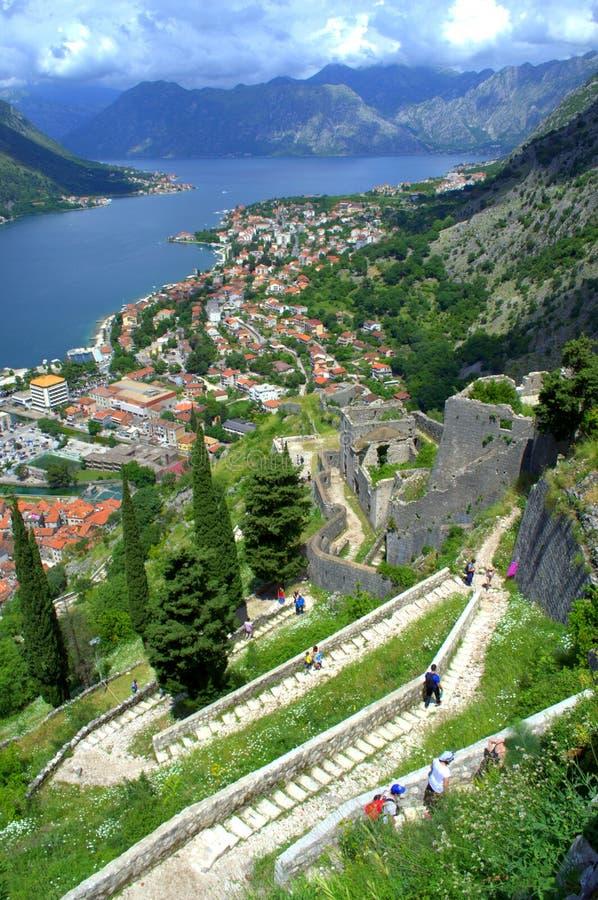 Старые средневековые городища, Kotor Черногория стоковое фото rf