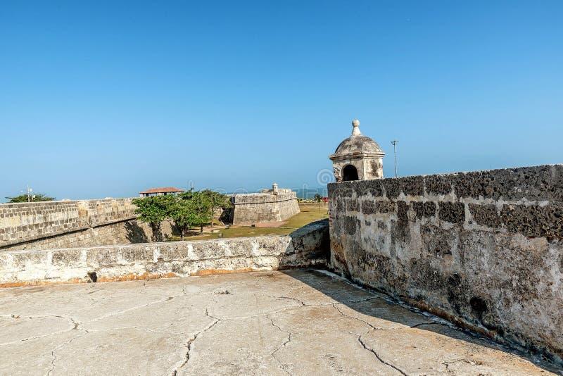 Старые стены города в Cartagena, Колумбии стоковое фото rf