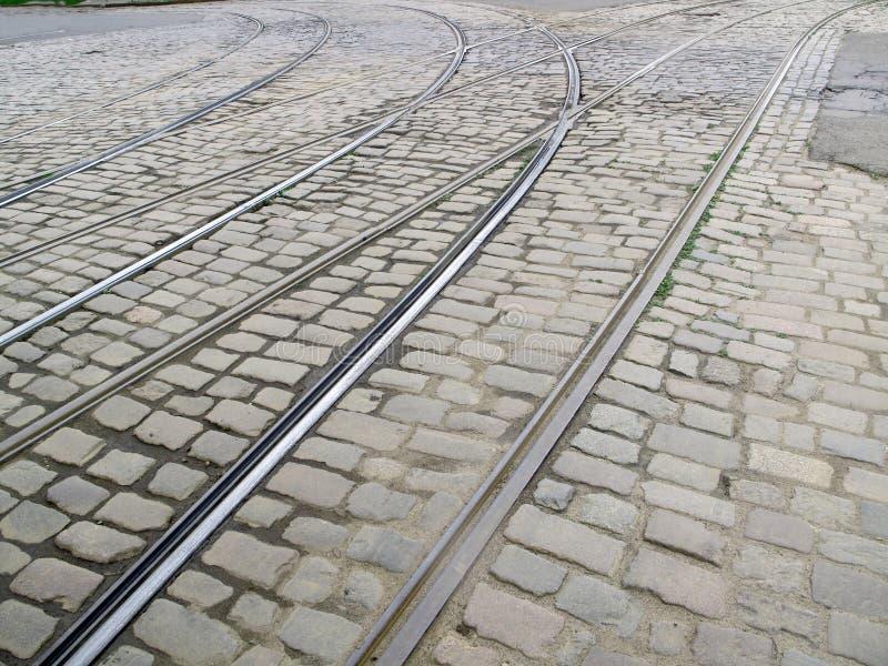 Старые следы трамвая города стоковая фотография rf