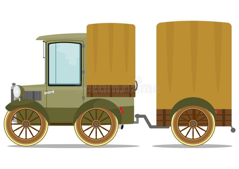 Старые тележка и трейлер иллюстрация вектора