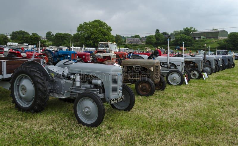 Старые тракторы на выставке стоковая фотография