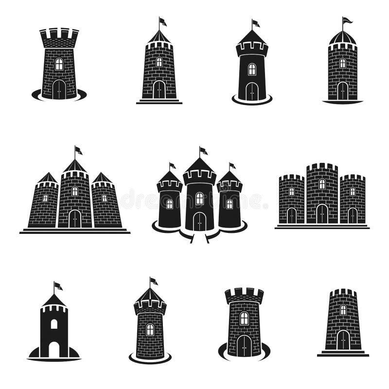 Старые установленные эмблемы цитаделей Heraldic элементы co дизайна вектора иллюстрация вектора