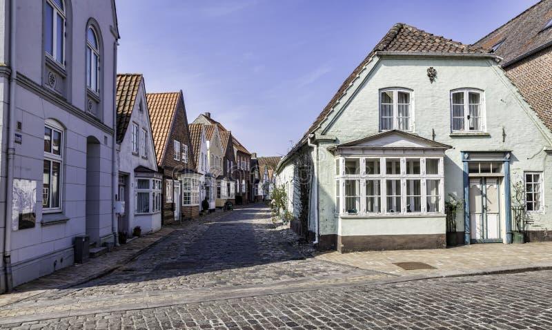 Старые улицы в датском селе Tonder стоковое изображение rf