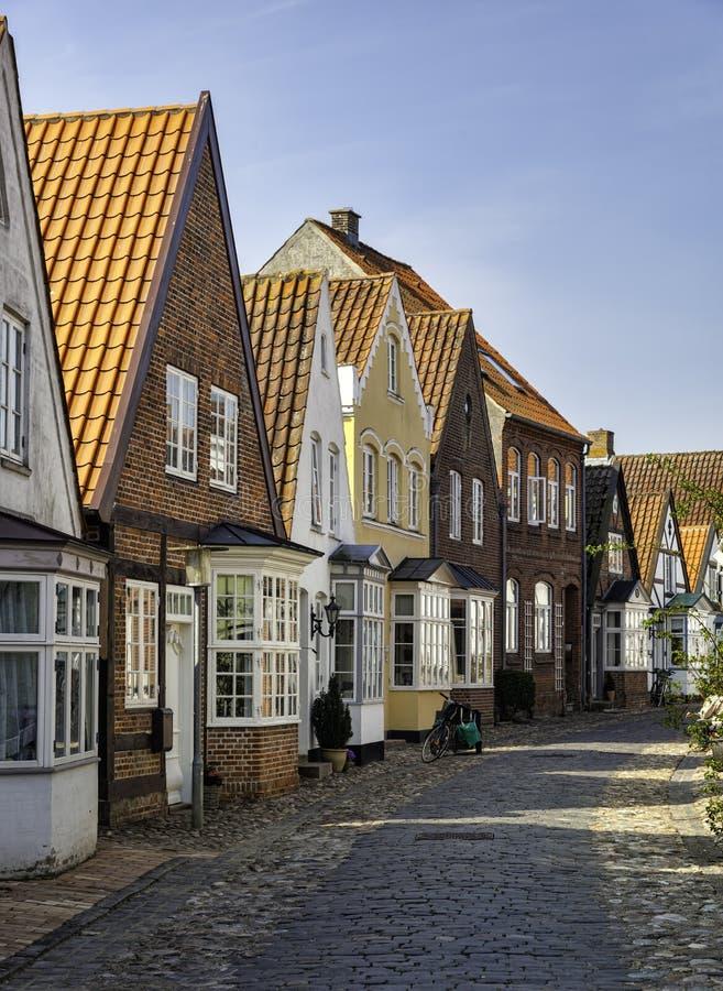Старые улицы в датском селе Tonder стоковые фотографии rf