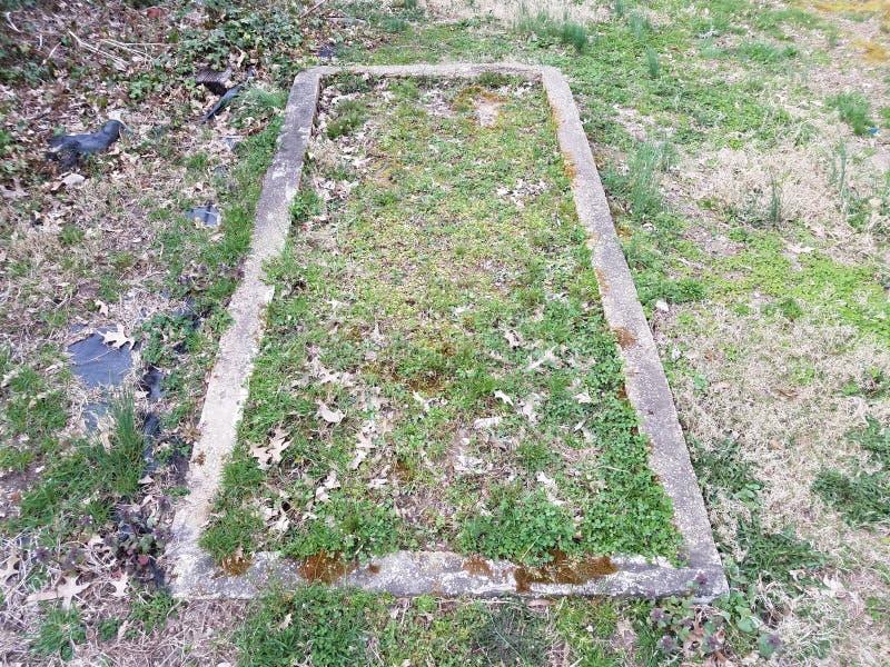 Старые цемент и сад с зеленой и коричневой травой во дворе или лужайке стоковая фотография