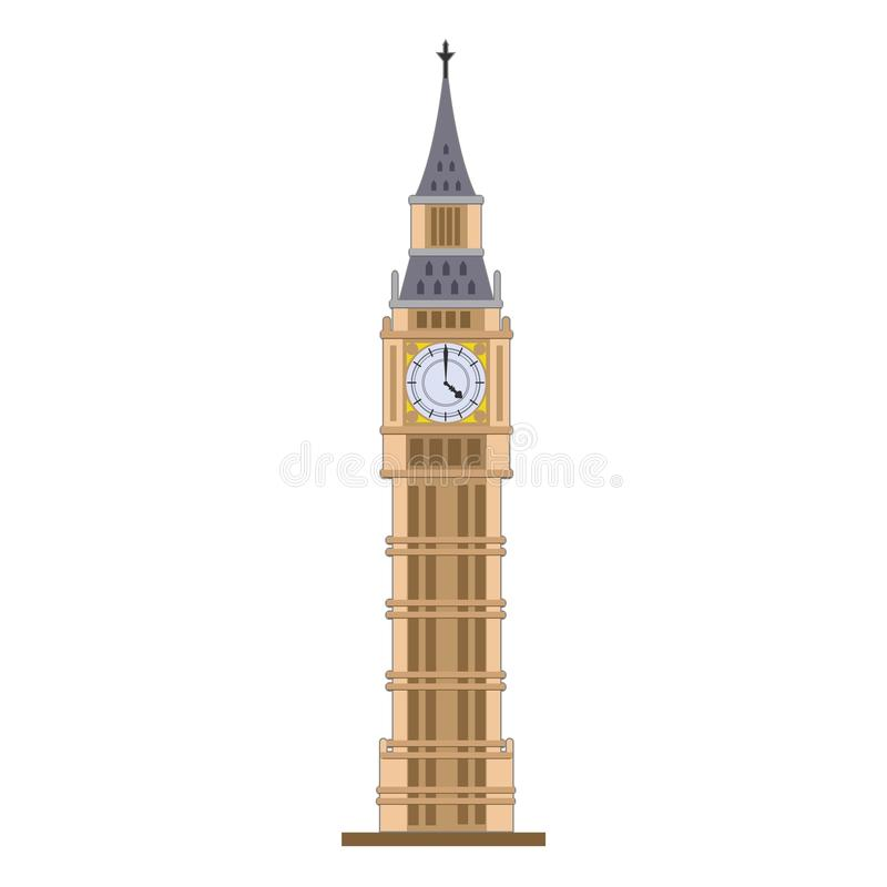 Старые часы Лондон Англия большого Бен иллюстрация штока