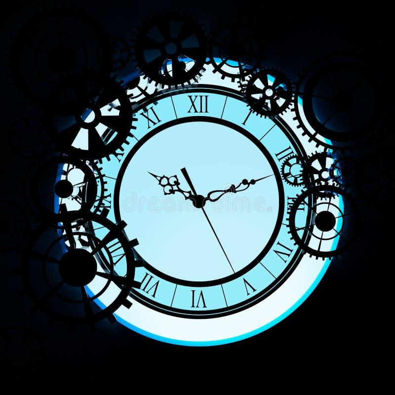 Старые часы с предпосылкой шестерней иллюстрация вектора