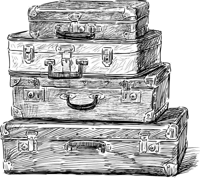 старые чемоданы иллюстрация вектора