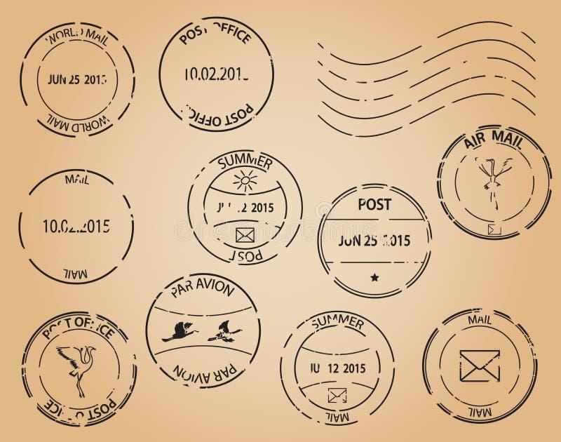 Старые штемпеля почтового сбора - черные элементы иллюстрация штока