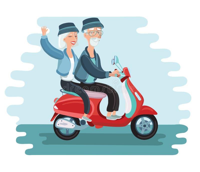 Старые люди управляя illustrationg вектора самоката иллюстрация вектора