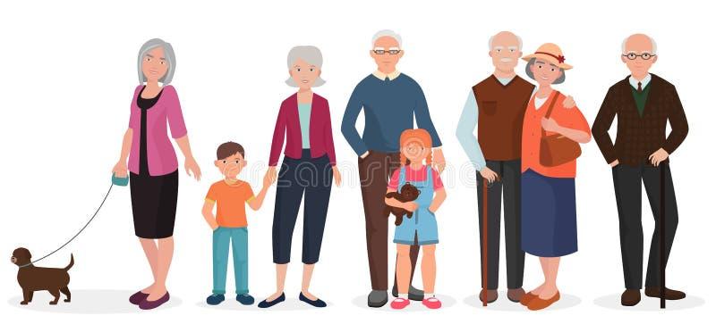 Старые люди установленных пар дедов Бабушка с детьми и собакой бесплатная иллюстрация