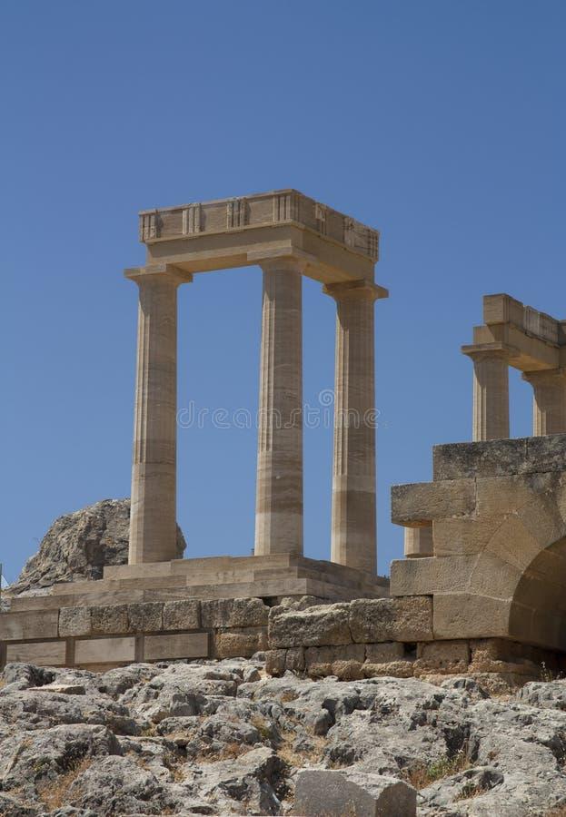 Старый акрополь в Родосе. Город Lindos. Греция стоковые изображения rf