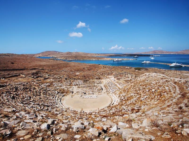 Старый амфитеатр на Delos стоковая фотография