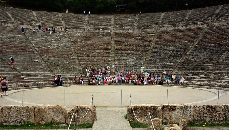 Старый амфитеатр Epidaurus на Пелопоннесе, Греции стоковые фото