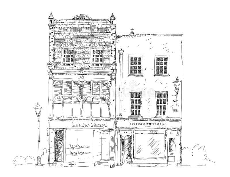 Старый английский таунхаус с малым магазином или дело на первом этаже Собрание эскиза иллюстрация вектора