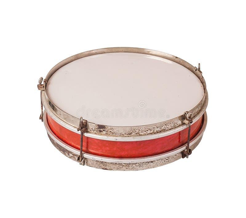 Старый барабанчик изолированный на белой предпосылке стоковая фотография