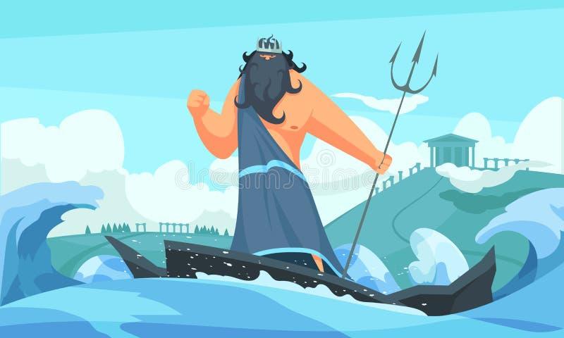 Старый бог Poseidon иллюстрация вектора