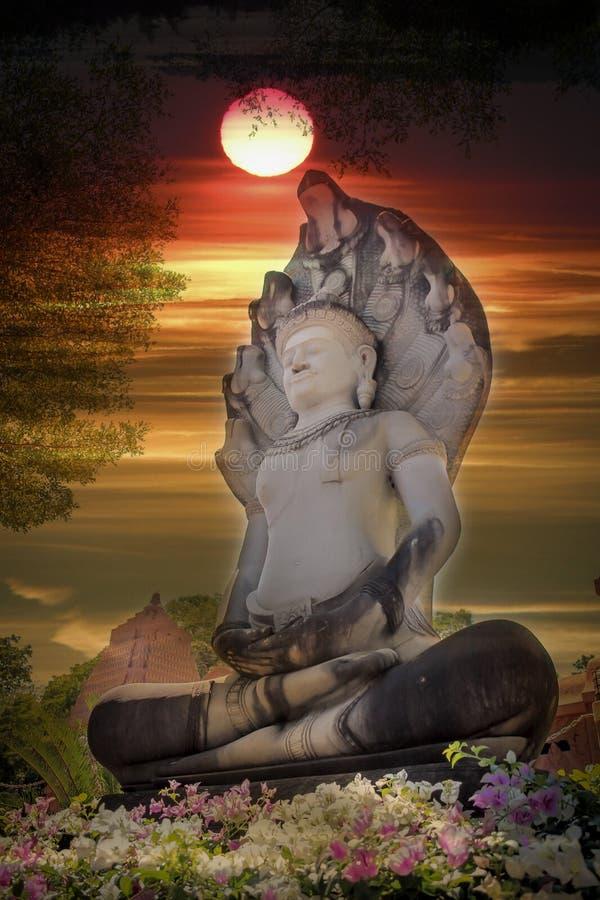 Старый Будда, фон солнца стоковые фото