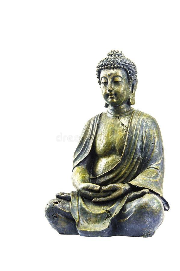 Старый Будда на белой предпосылке стоковое изображение rf