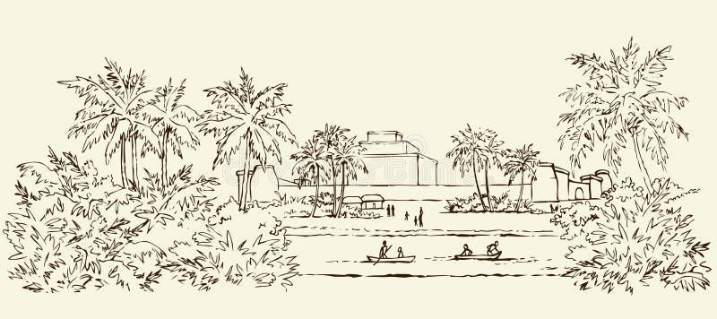 Старый Вавилон предпосылка рисуя флористический вектор травы иллюстрация штока