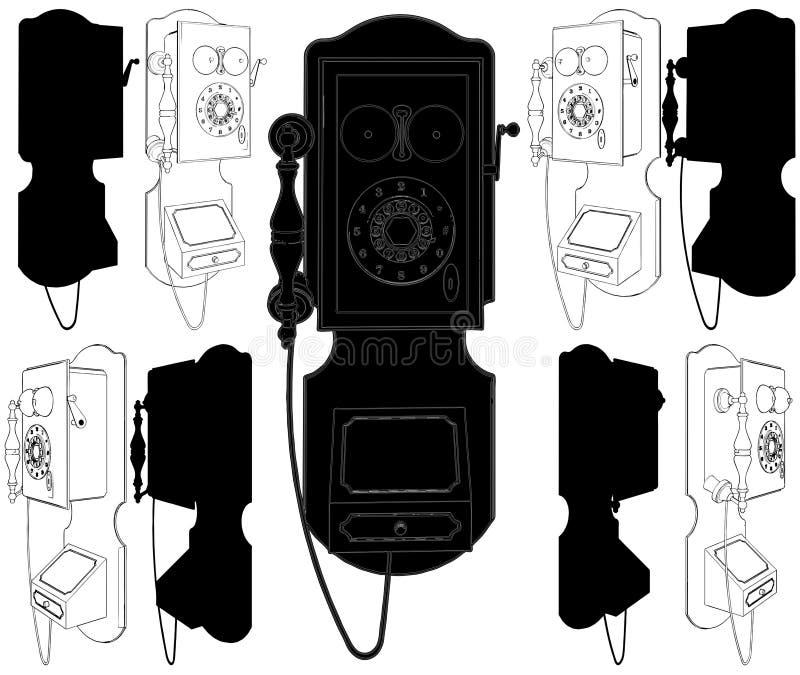старый вектор телефона 02 иллюстрация вектора