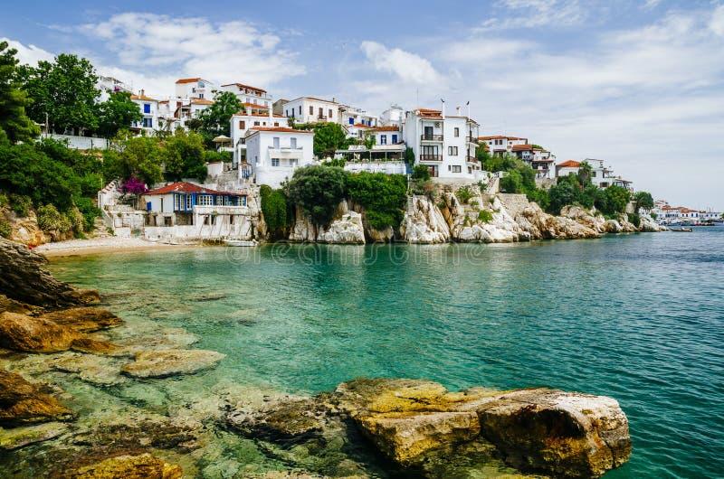 Старый взгляд городка острова Skiathos, Sporades, Греции стоковые изображения
