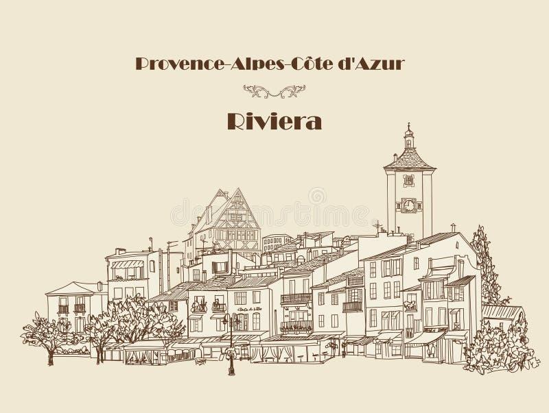 Старый взгляд города Городской пейзаж - дома, здания, кафе улицы и дерево иллюстрация вектора