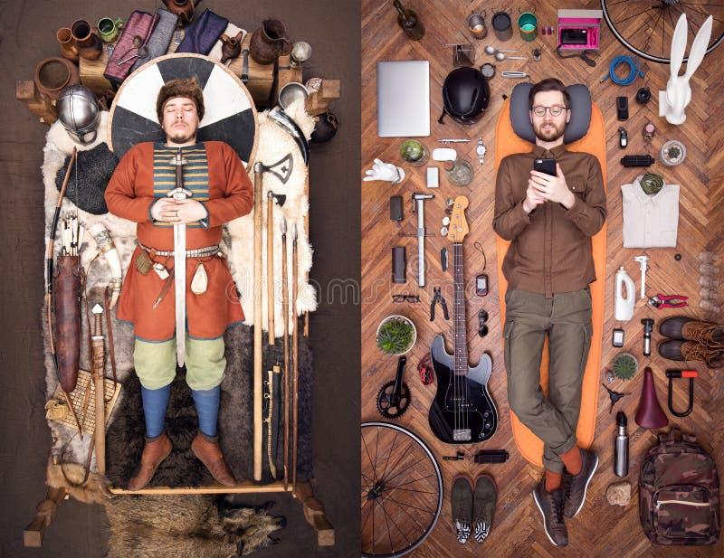 Старый Викинг и современный хипстер Много польза вещества ежедневная Стильный по внешнему виду стоковая фотография rf