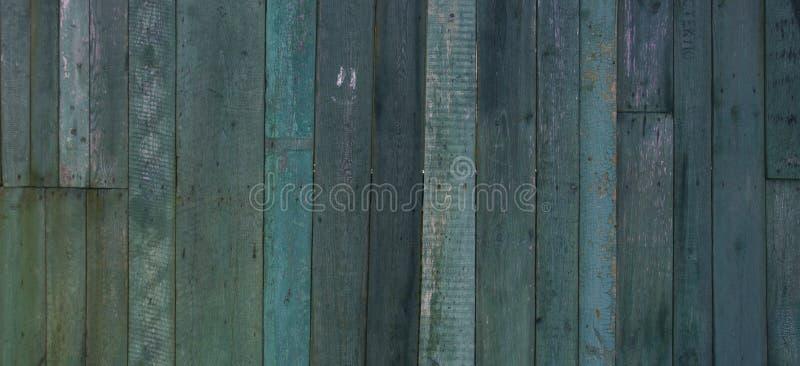 Старый винтажный затрапезный зеленый голубой тон выдержал покрашенная деревянная предпосылка знамени стоковое фото