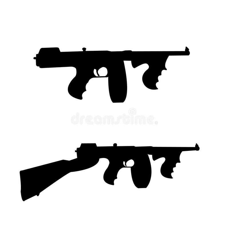Старый, винтажный, ретро, силуэты оружия мафии иллюстрация вектора