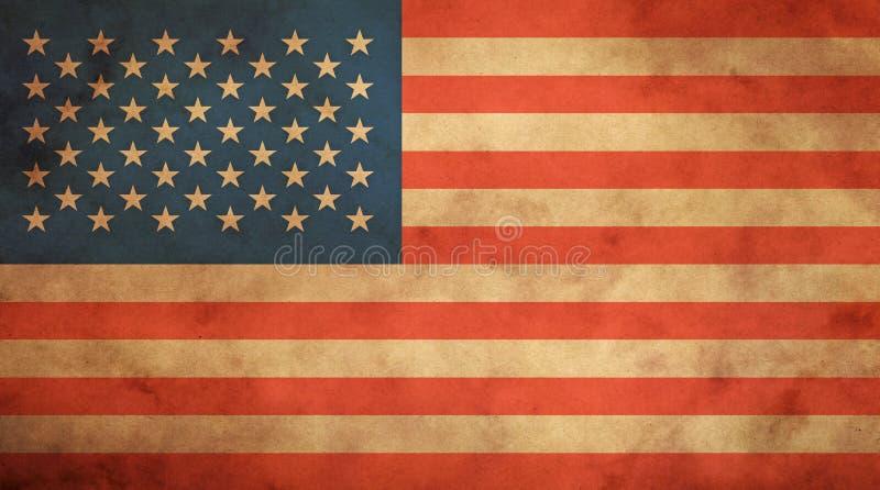 Старый винтажный флаг США американца над бумажным пергаментом стоковые фотографии rf