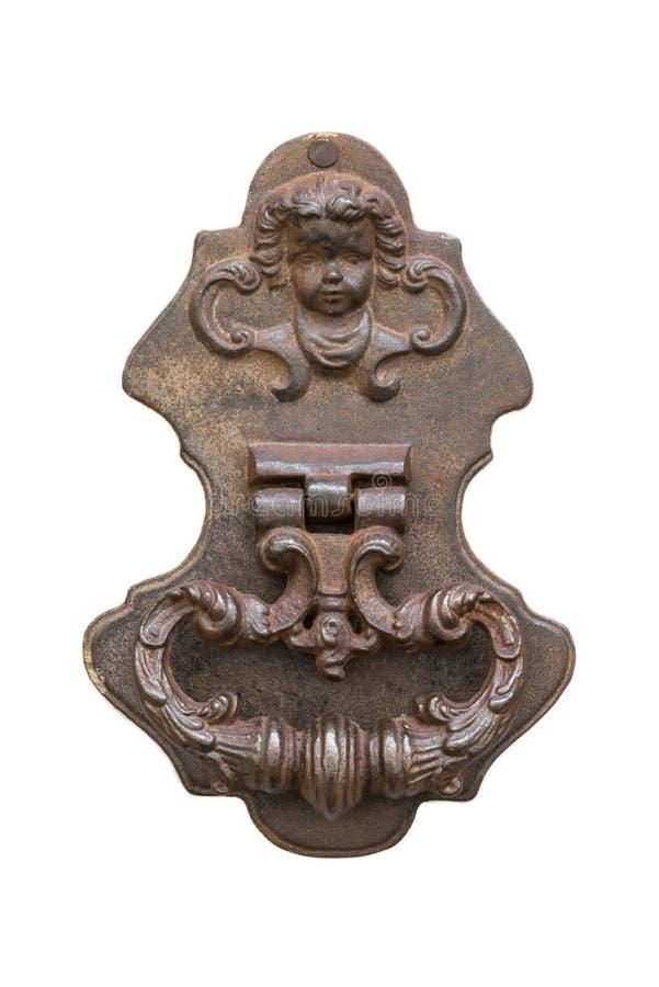 Старый винтажный knocker двери на двери стоковое изображение