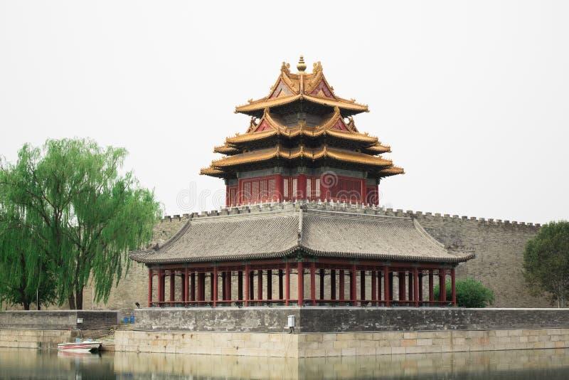 Старый висок буддизма Красная азиатская башня пагоды Старый висок азиата архитектуры стоковая фотография