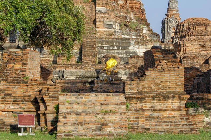 Старый старый висок в районе парка ayutthaya историческом на Таиланде стоковое фото