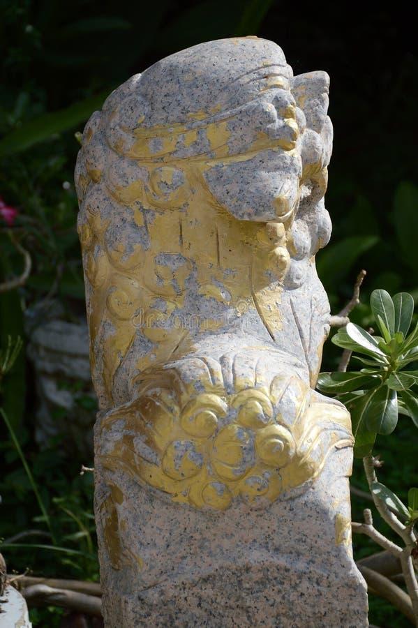 Старый висок камня льва публично на Таиланде стоковая фотография rf