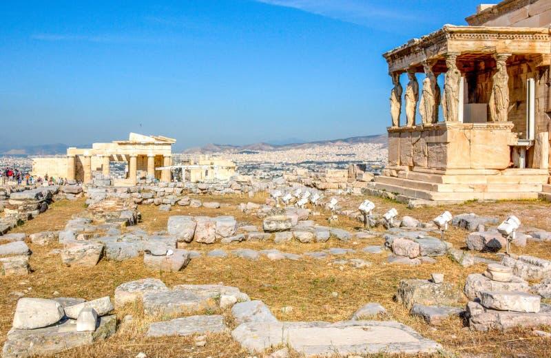Старый висок Erechtheion в Афинах, Греции стоковые изображения rf