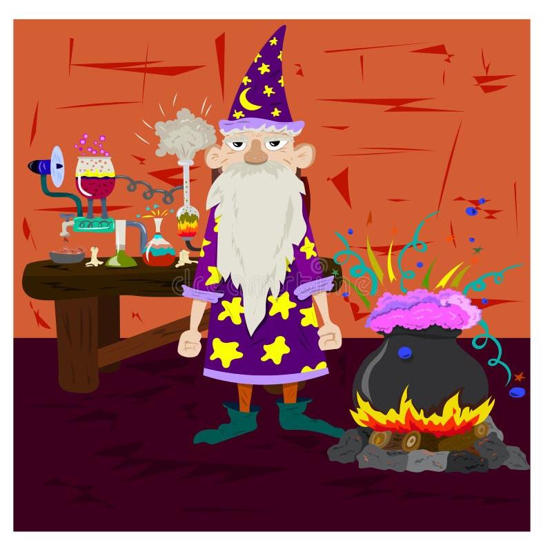 Старый волшебник варит зелье в котле и кладет эксперименты иллюстрация вектора