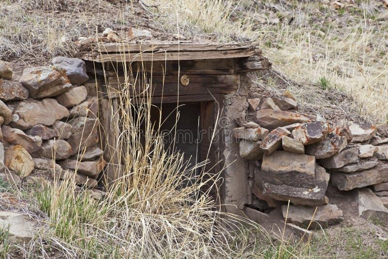 Старый вход камня дома или погреба корня стоковое изображение